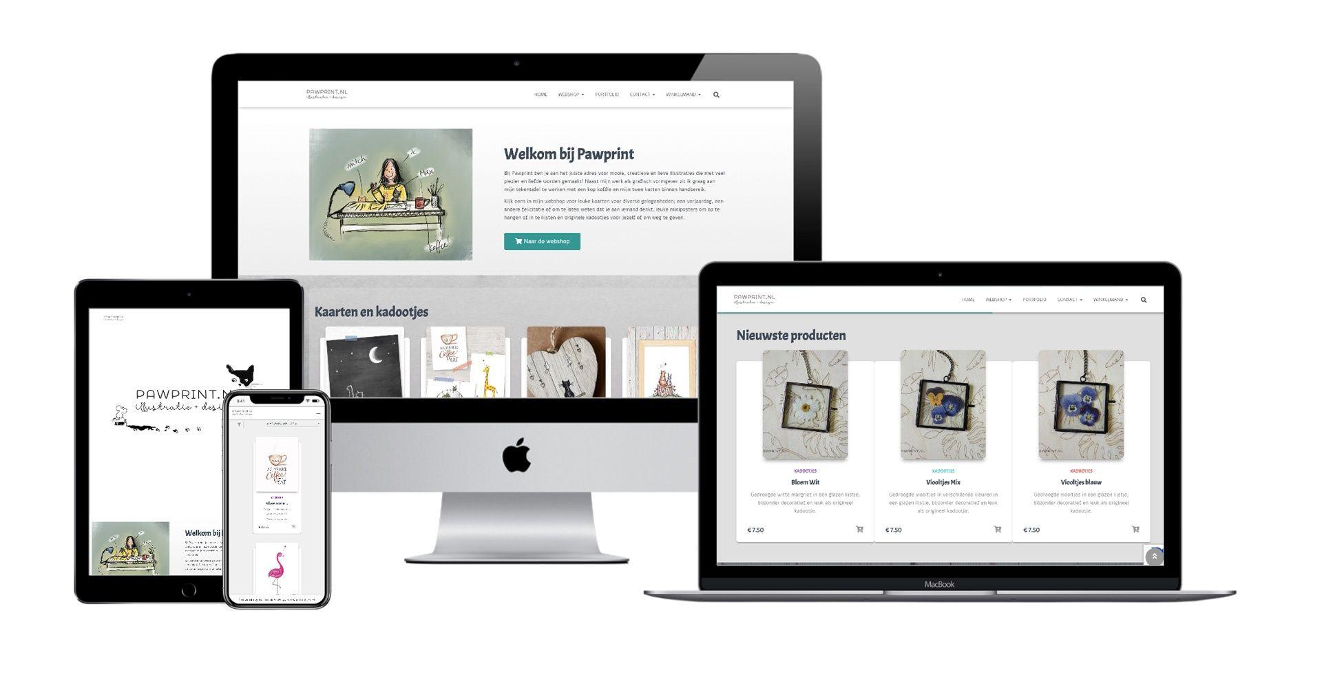 Website Pawprint kaarten en kados