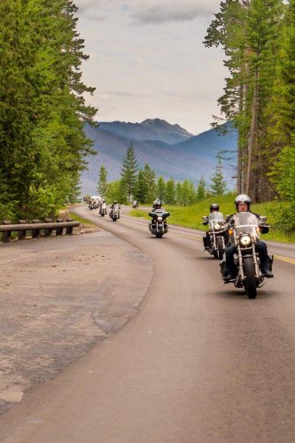 Harleys in Glacier National Park