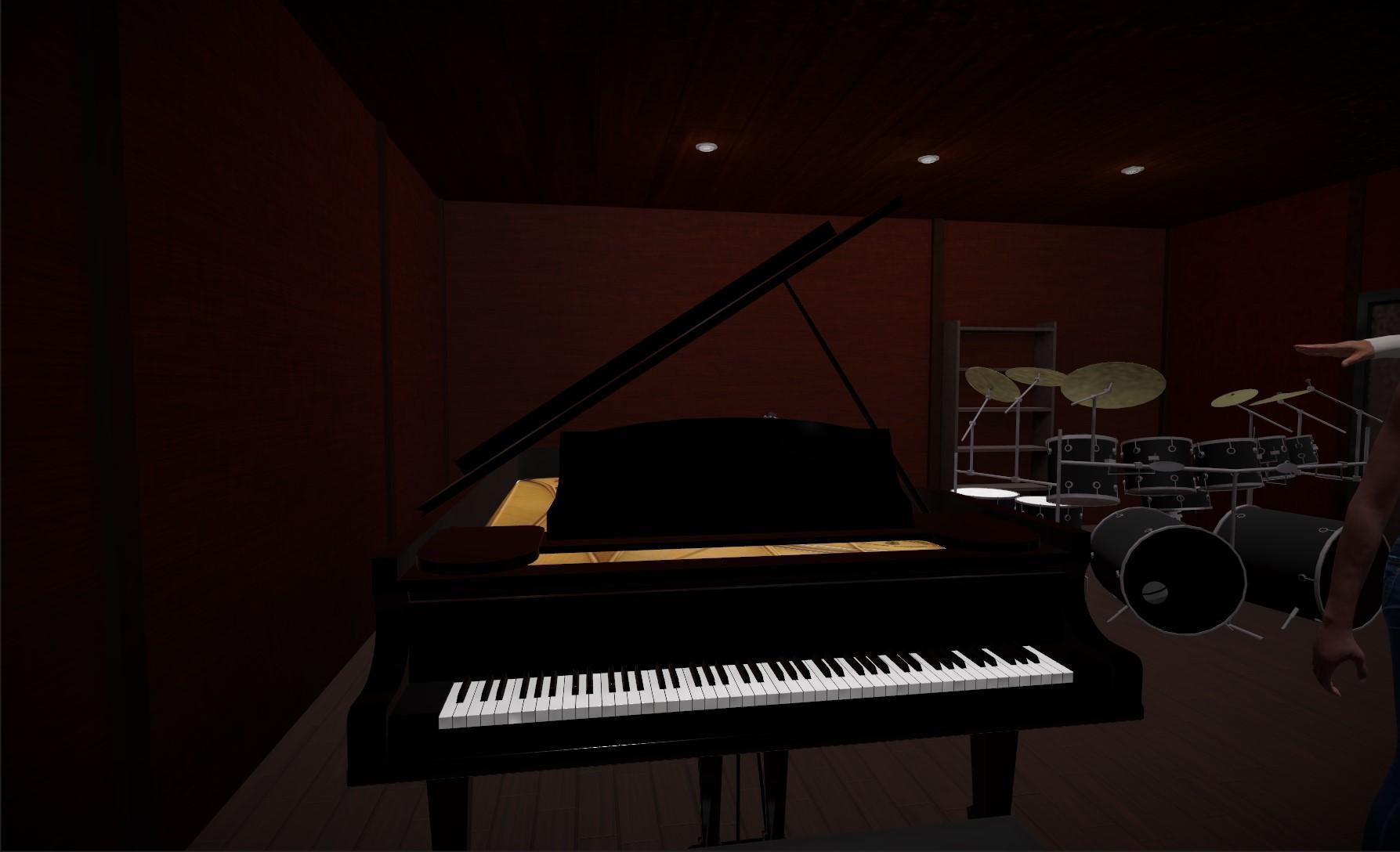 Piano in recording room of virtual recording studio