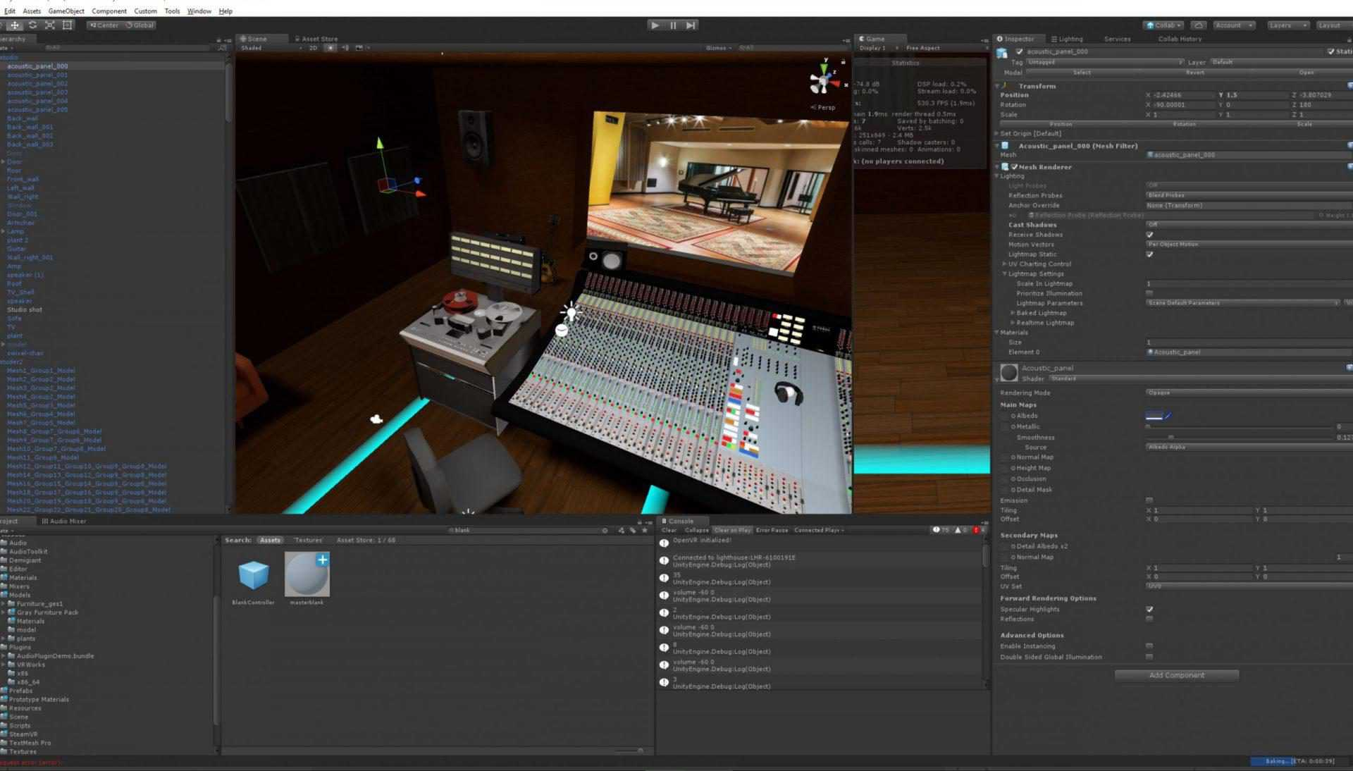VR mixingconsole in virtual reality