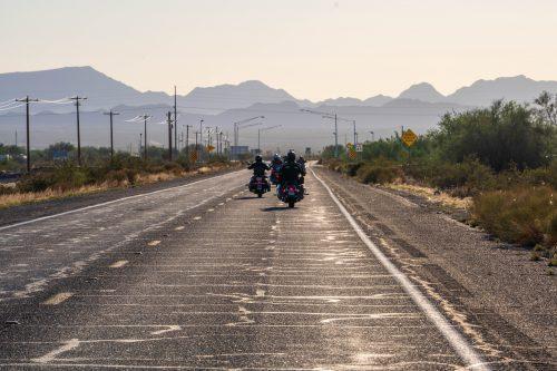 Harleys towards the mountains