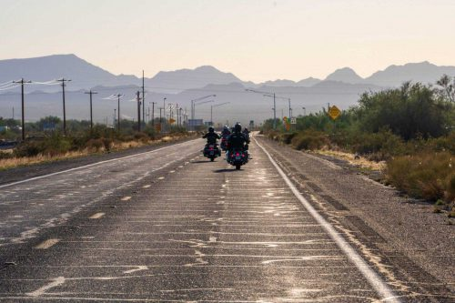 Harleys towards the mountains