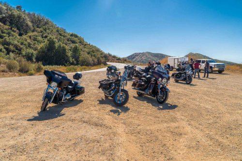 Harley motoren tijdens stop in de bergen