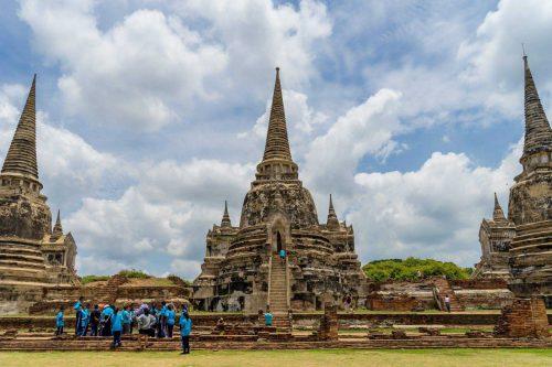 Drie stupa's in ayutthaya thailand