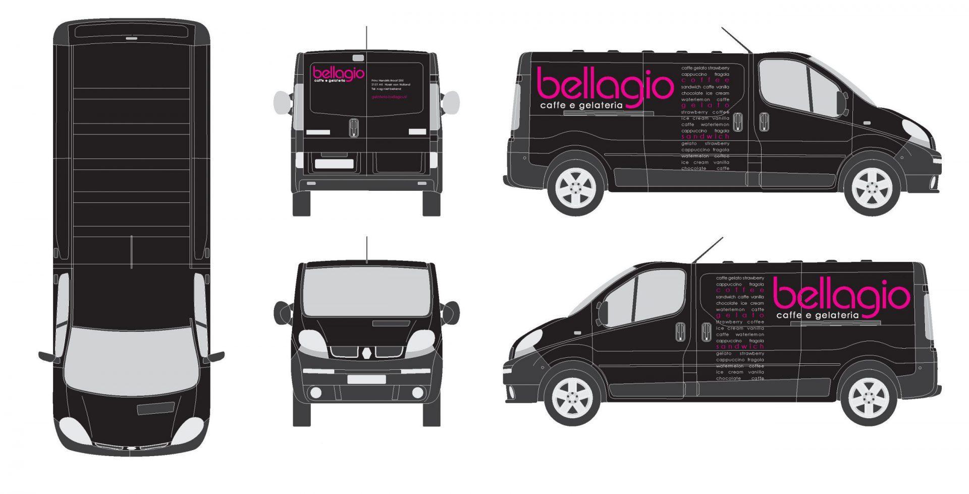 Bellagio bus en auto bestickering