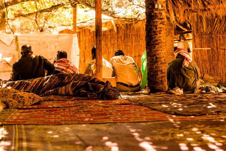 Sinai Oasis, men drinking tea