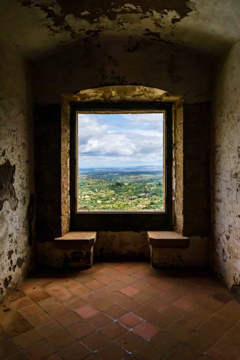 A view from within the Castelo de Vide castle tower in portugal