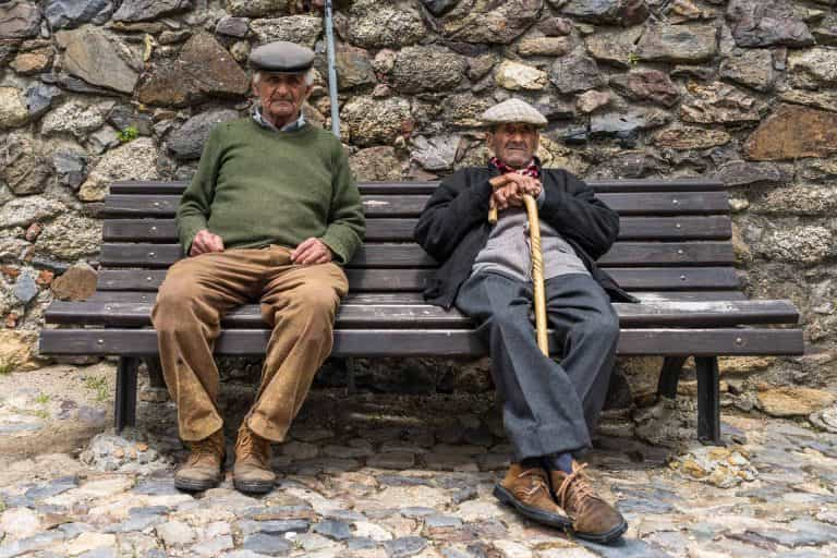 Friendly local people at the castle wall in Castelo de Vide. Asked them if I could take a photo and agreed.