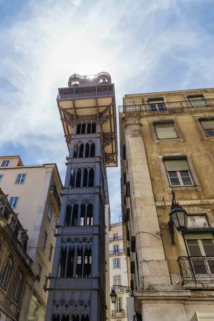 The famous elevator in Lisbon  with the design from Gustav Eiffel (alike  the tower)..