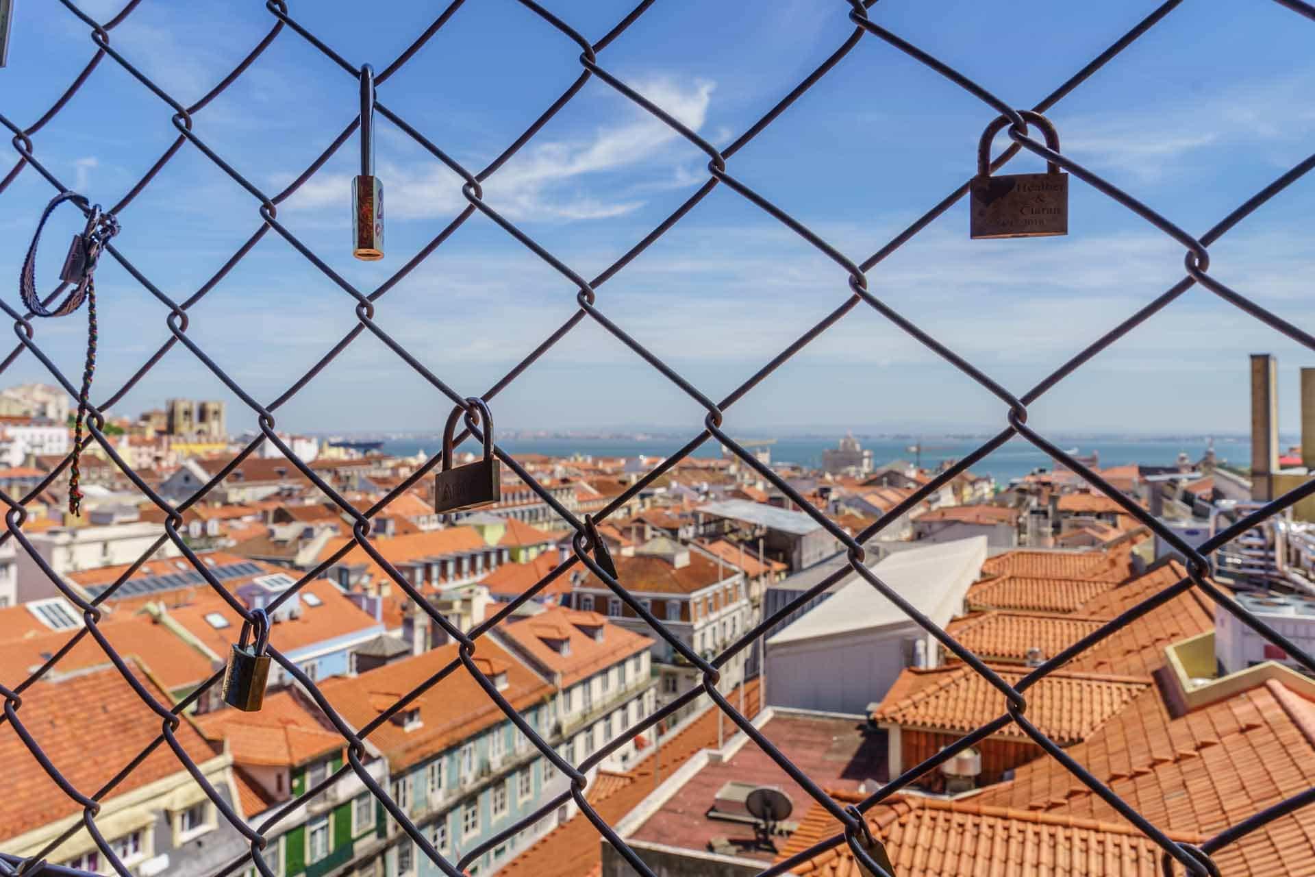 Locks in the ijffel elevator in Lisbon, portugal