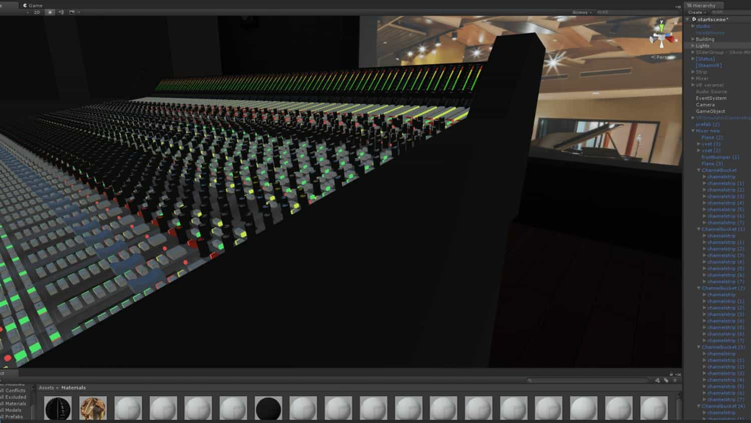 Recording mixing console in VR