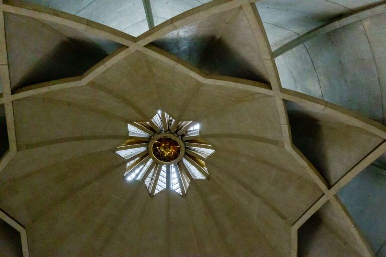 The ceiling of the Lotus temple (The Baha'i House of Worship) in New Delhi
