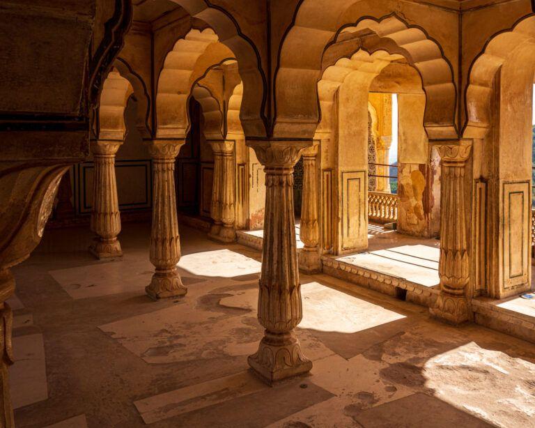 Light falling through pillars in amber ford outside jaipur