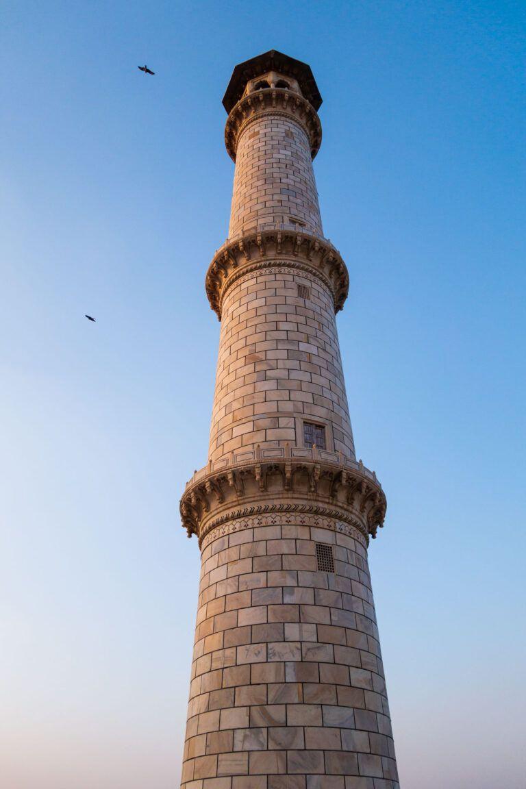 One of the four miniarets that surround the Taj Mahal