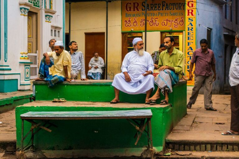 Local people hanging out in Varanasi India
