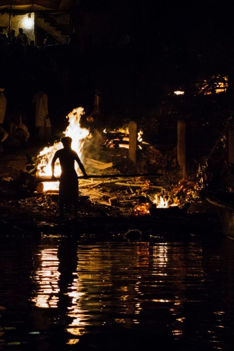 Burning ritual on the Ganges River in Varanasi India