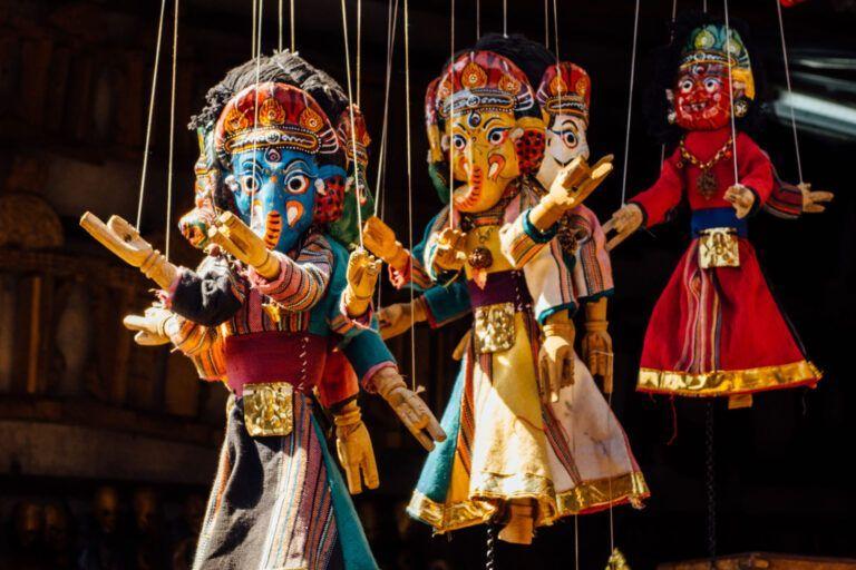 Lalitpur (Patan) Nepal, little shops sell tourist items like ganesha dolls