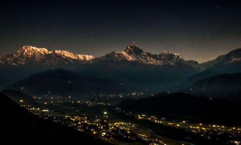 Nepal view from Pokhara at Arna Purna Range