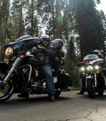 Harley riders in Kings Canyon National park